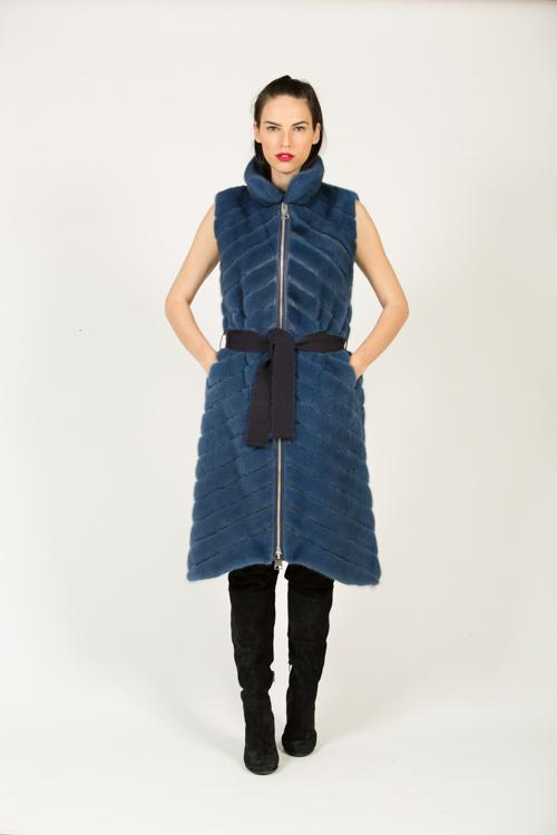 DV 457 F 557 MINK VEST PLATINUM LIGHT BLUE 40-100