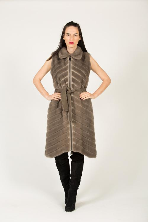 DV 491 F 557 MINK VEST PLATINUM DUSTY GREY 40-95