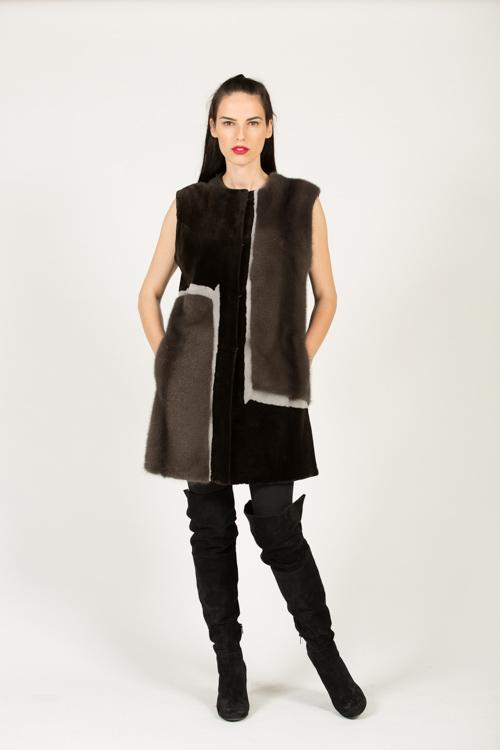 DV 503 F 530 MINK VEST SILK+L.H. BROWN ROCK 38-83